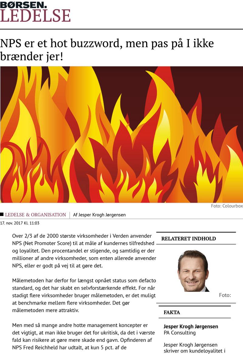 Børsen Ledelse: NPS er et hot buzzword, men pas på I ikke brænder jer!