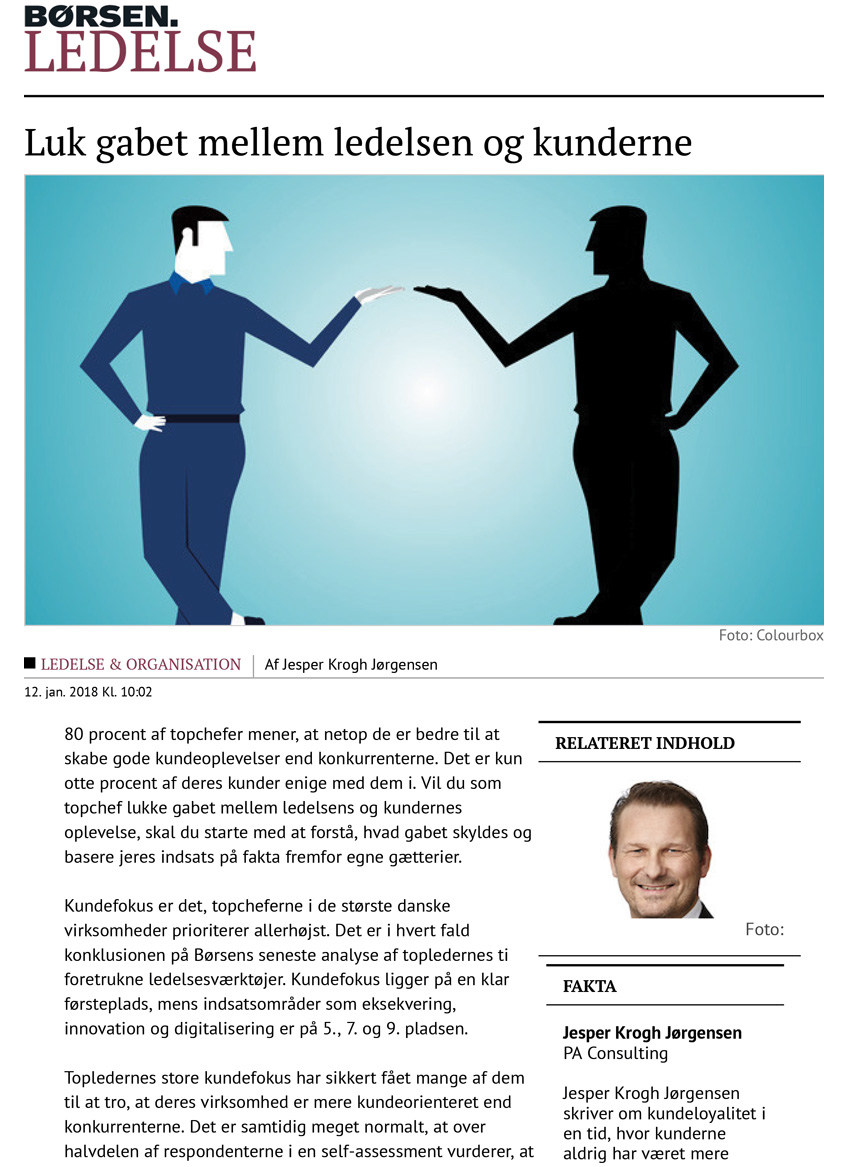 Borsen Ledelse: Luk gabet mellem ledelsen og kunderne