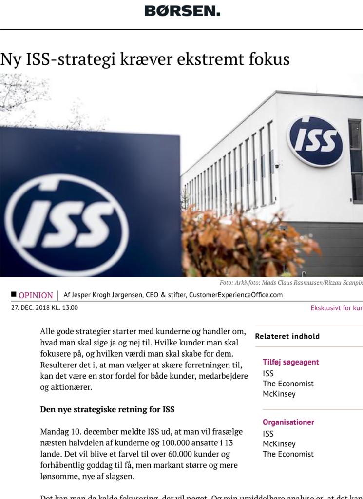 Borsen: Ny ISS-strategi kraever ekstremt fokus