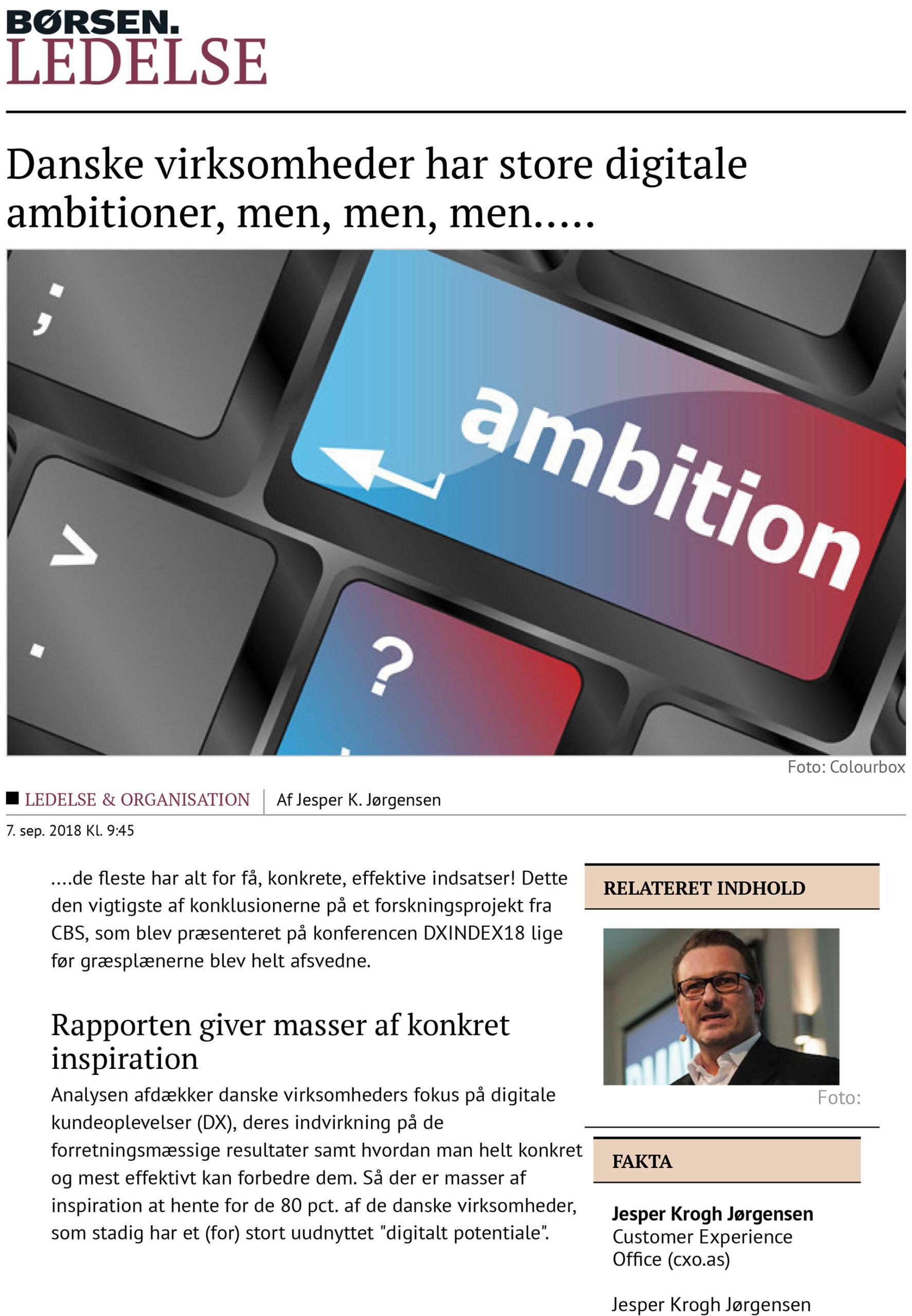 Børsen Ledelse: Danske virksomheder har store digitale ambitioner, men, men, men...